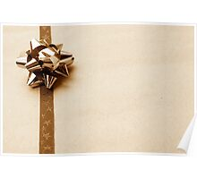 Gift Wrapped Vintage Bow and Ribbon on Plain Paper Poster