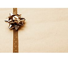 Gift Wrapped Vintage Bow and Ribbon on Plain Paper Photographic Print