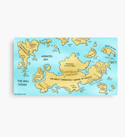 Linux World Map Canvas Print