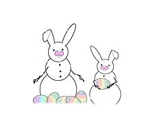 Easter Snow Bunnies Photographic Print