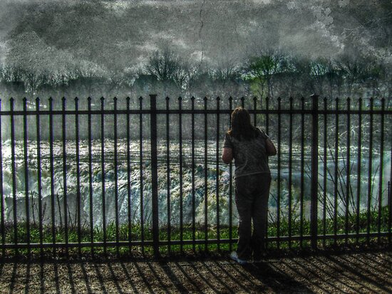 My daughter Shannon looking at the Great Falls, Paterson NJ by Jane Neill-Hancock