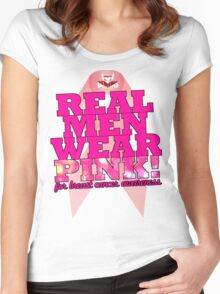 Real Men Wear Pink Wonky Lettering Women's Fitted Scoop T-Shirt