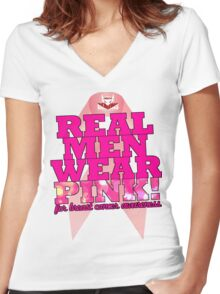 Real Men Wear Pink Wonky Lettering Women's Fitted V-Neck T-Shirt