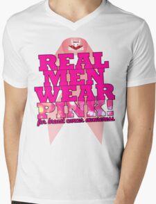 Real Men Wear Pink Wonky Lettering Mens V-Neck T-Shirt