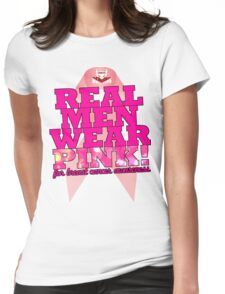 Real Men Wear Pink Wonky Lettering Womens Fitted T-Shirt