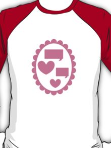 Love heart speaking on a cameo T-Shirt