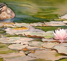 Waterlilies and duck by JudyUNelson