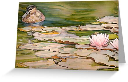 Waterlilies and duck (card) by JudyUNelson