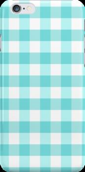 Aqua Gingham Pattern by lunalalonde