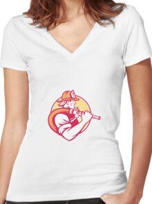Fireman Firefighter Emergency Worker Women's Fitted V-Neck T-Shirt