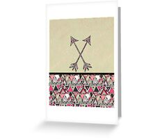 Retro Tribal Arrows Vintage Earth Aztec Pattern Greeting Card