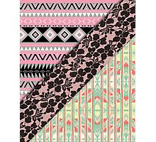 Abstract Pink Orange Aztec Black Girly Floral Lace Photographic Print
