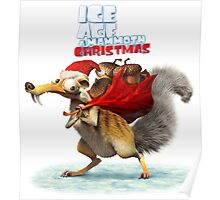CHRISTMAS ICE AGE SCRAT STYLE Poster