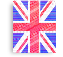 Modern Abstract White Aztec UK Union Jack Flag Canvas Print