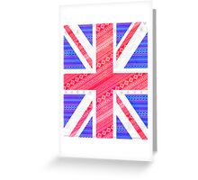 Modern Abstract White Aztec UK Union Jack Flag Greeting Card