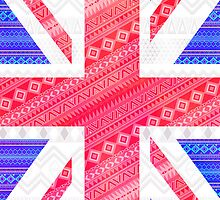 Modern Abstract White Aztec UK Union Jack Flag by GirlyTrend