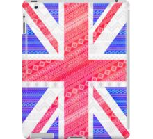 Modern Abstract White Aztec UK Union Jack Flag iPad Case/Skin