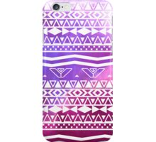 Trendy White Aztec Pattern Purple Nebula Space iPhone Case/Skin