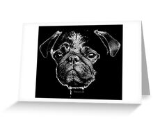 mops puppy white - french bulldog, cute, funny, dog Greeting Card