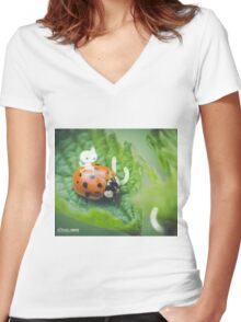 Riding the ladybug - Wandering forest 3 Women's Fitted V-Neck T-Shirt