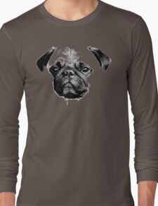 mops puppy white - french bulldog, cute, funny, dog Long Sleeve T-Shirt