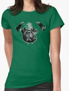 mops puppy white - french bulldog, cute, funny, dog Womens Fitted T-Shirt