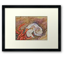 BECOMING A SHELL CRAB Framed Print