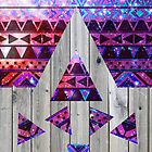 Modern Pink Aztec Nebula Triangles On Vintage Wood by GirlyTrend