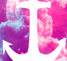 Girly Nautical Anchor Bright Pink Clouds Sky Sticker