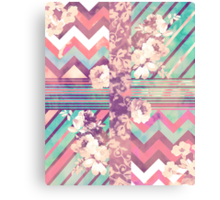 Retro Pink turquoise Floral Stripe Chevron Pattern Canvas Print