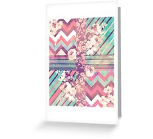 Retro Pink turquoise Floral Stripe Chevron Pattern Greeting Card