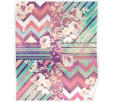 Retro Pink turquoise Floral Stripe Chevron Pattern Poster