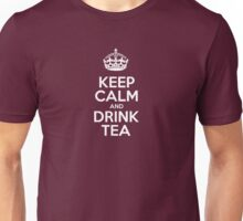 Keep Calm and Drink Tea - Red Leather Unisex T-Shirt