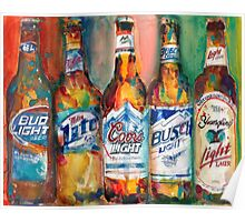Bud light Miller Lite Coors Light Busch Light Yuengling Light Combo Beer Art Print Poster