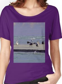 Pelicans & Seagulls Are Among Us in South Topsail, NC Women's Relaxed Fit T-Shirt