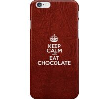 Keep Calm and Eat Chocolate - Red Leather iPhone Case/Skin