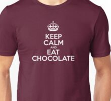 Keep Calm and Eat Chocolate - Red Leather Unisex T-Shirt