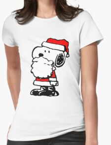 Santa Claus Snoopy Womens Fitted T-Shirt