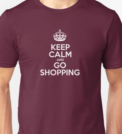 Keep Calm and Go Shopping - Red Leather Unisex T-Shirt