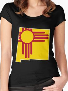 New Mexico Flag [Wht] | State Line | SteezeFSC Women's Fitted Scoop T-Shirt