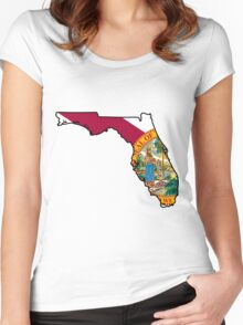 Florida Flag [Blk] | State Line | SteezeFSC Women's Fitted Scoop T-Shirt