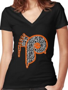 Philadelphia P with Crown Women's Fitted V-Neck T-Shirt