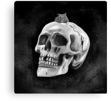 Cracked skull with mouse BW Canvas Print