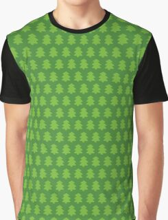 Green Christmas Trees Pattern Graphic T-Shirt