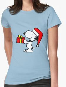 Snoopy has a Present Womens Fitted T-Shirt