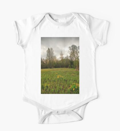 Birches,reeds and kingcups HDR One Piece - Short Sleeve