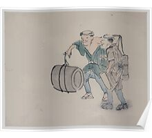 Two men walking one carrying a shoulder pole with barrel like containers the other carries a long handled mallet 001 Poster