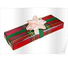 Wrapped Gift With Tartan Paper Poster