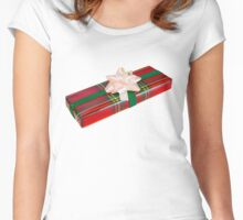 Wrapped Gift With Tartan Paper Women's Fitted Scoop T-Shirt