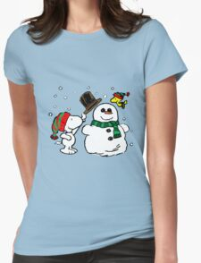 Snoopy Snowman Womens Fitted T-Shirt